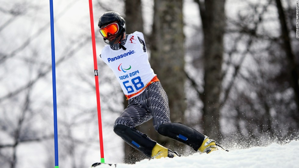 Armenian skier Mher Avanesyan competes in the men's slalom Thursday, March 13, at the Winter Paralympic Games. The Paralympics were held in Sochi, Russia, just like last month's Olympics.