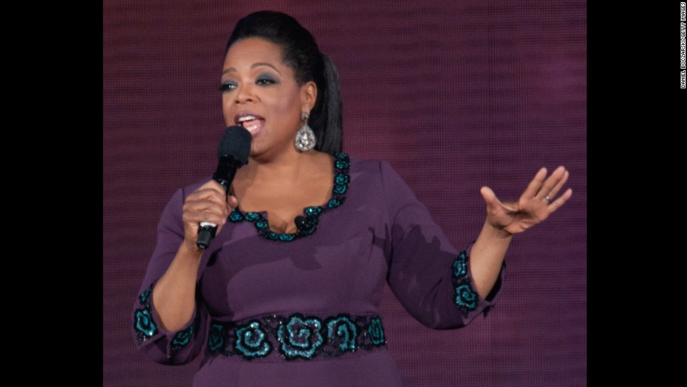 "Oprah Winfrey wears a L'Wren Scott dress in May 2011 for ""Surprise Oprah! A Farewell Spectacular."""