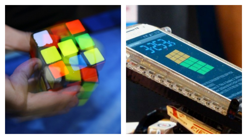"<strong>ROUND ONE: RUBIK'S CUBE</strong><br /><br />A robot has <a href=""http://edition.cnn.com/2014/03/17/tech/innovation/lego-robot-rubiks-cube/"">smashed the world record for solving a Rubik's Cube</a> in the fastest time of 3.25 seconds. The menacingly named ""Cubestormer III"" annihilated Dutchman Mats Valk's human record of 5.55 seconds -- not bad considering it's made from Lego and has a mobile phone for a brain.<br /><br />Ok, so the brainy bot comes out on top this time. But are they really that much smarter than us? Roll up your sleeves (and adjust your keyboards) for some of the nerdiest competitions of all time...<br /><br />This one goes to the ""Cubestormer.""<br /><br /><em><strong>SCORE: Machine 1, Man 0</em></strong><br /><br /><br /><em>By Sheena McKenzie and Matt Ponsford</em><br /><br />[Images: Patrik Stollarz/AFP/Getty Images; Courtesy ARM]"