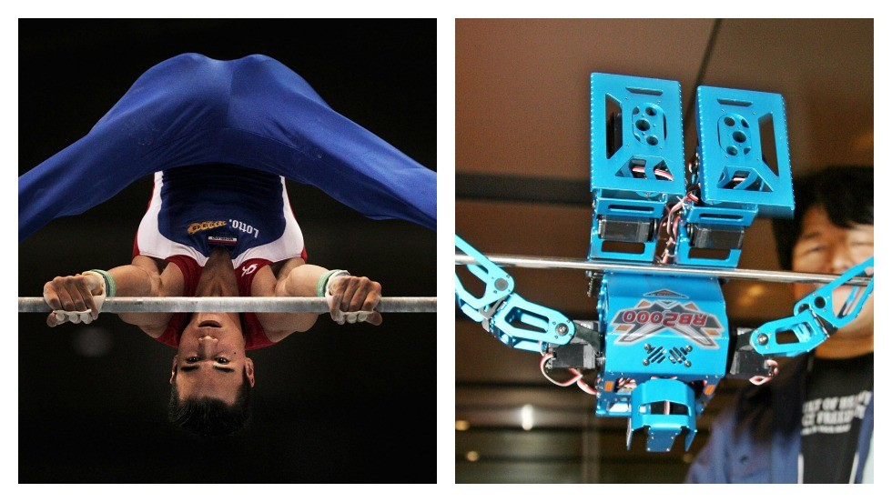 "<strong>ROUND FIVE: GYMNASTICS</strong><br /><br />Apart from its catchy name,<a href=""http://www.engadget.com/2006/10/23/the-rb2000-robot-gymnast-the-next-step-to-real-robot-olympics/"" target=""_blank""> ""RB2000""</a> can swing 360-degrees on a crossbar, do pull-ups, and perform cartwheels almost like it was a real gymnast. <br /><br />Yes, robotics has come a long way since this clever critter was unveiled in 2006, with even the most basic home-made machines now <a href=""http://www.engadget.com/2006/10/23/the-rb2000-robot-gymnast-the-next-step-to-real-robot-olympics/"" target=""_blank"">nailing quadruple backflips</a> with pinpoint accuracy. But isn't part of the joy of watching gymnastics, in marveling at the human body -- and wincing in sympathy when it all goes horribly wrong?<br /><br />This one goes to the people.<br /><br /><em><strong>SCORE: Machine 3, Man 3</em></strong><br /><br />[Images: Adam Pretty/Getty Images; Yoshikazu Tsuno/AFP/Getty Images]"