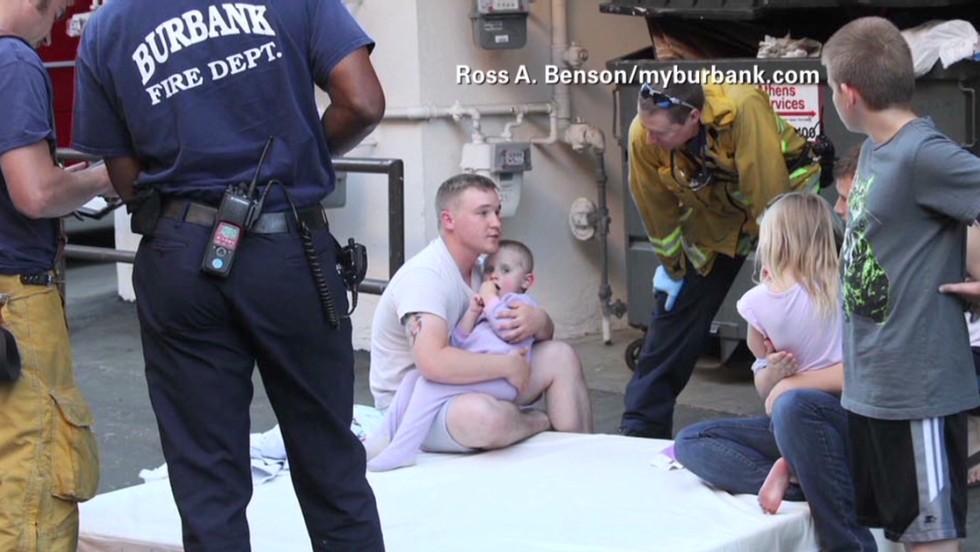 California child falling from window saved by stranger, box spring mattress