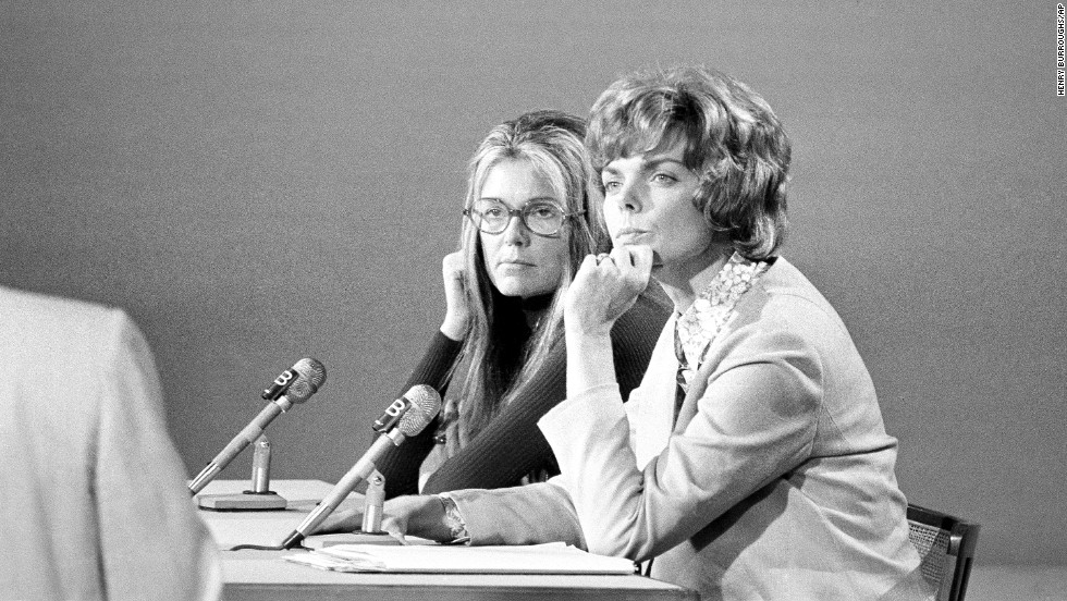 "Steinem, left, and Jill Ruckelshaus listen to a question during their appearance on NBC's ""Meet the Press"" in Washington in 1972."