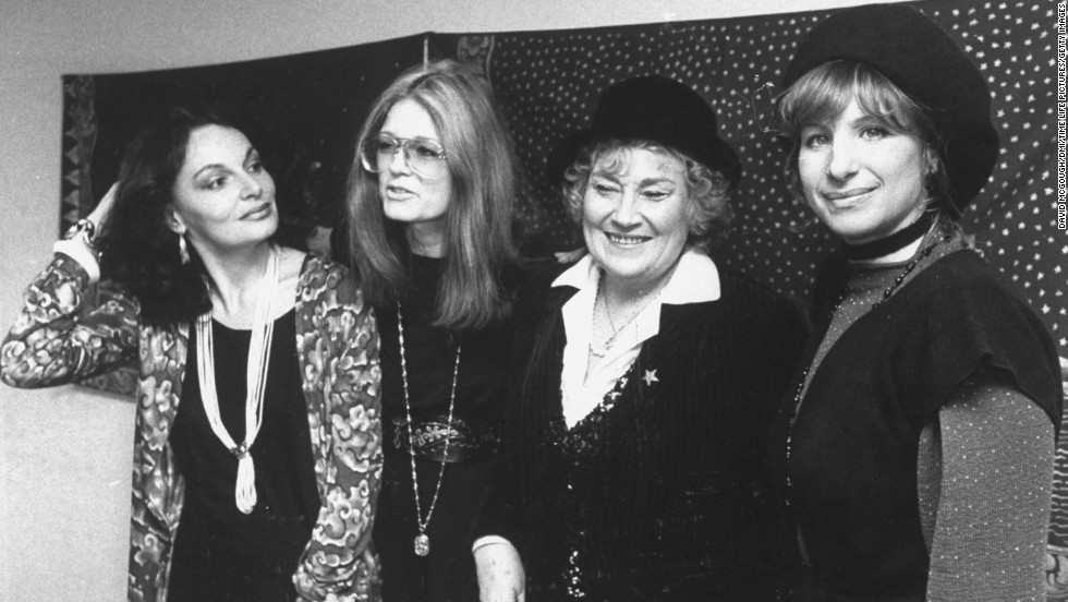 From left, fashion designer Diane von Furstenberg, Steinem, activist Bella Abzug and Barbra Streisand attend a 1981 benefit in Streisand's honor for Women USA.