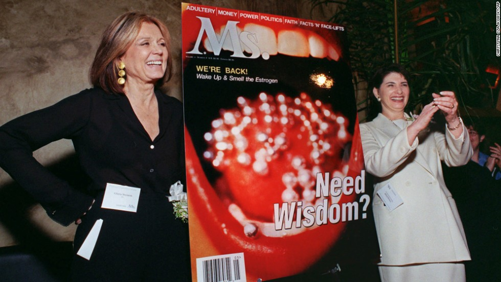 Steinem poses with Gloria Feldt, former president of Planned Parenthood, at a reception in 1999. The event celebrated the relaunch of Ms. magazine by Liberty Media for Women.