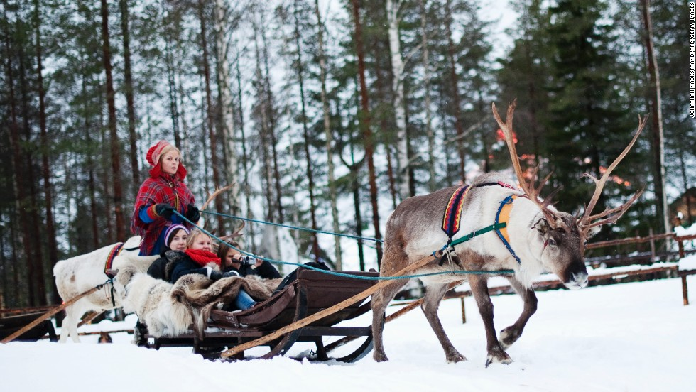 "<strong>Finland</strong>, the seventh-happiest country, is home to Santa Claus. You can ride a reindeer sled in the <a href=""http://www.santaclausvillage.info/"" target=""_blank"">Santa Claus Village</a>, an amusement park near Rovaniemi in the Lapland region."
