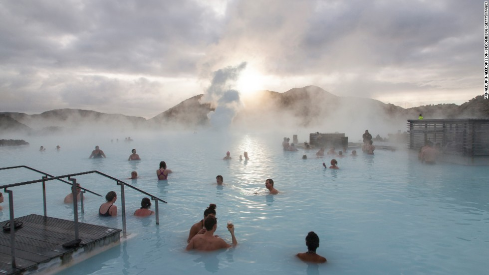 "<strong>Iceland</strong> may be the ninth-happiest country in the world in part due to its incredible hot springs and thermal-heated swimming pools, including its most famous spa, the <a href=""http://www.bluelagoon.com/"" target=""_blank"">Blue Lagoon</a>."