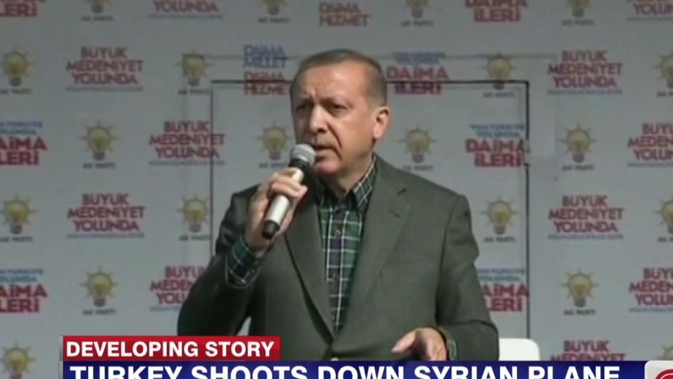 Turkey shoots down Syrian warplane, Prime Minister Erdogan says