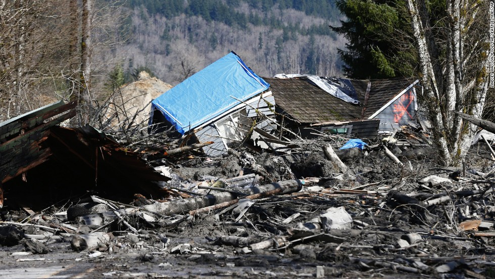 A destroyed home is stranded atop mud and debris on State Route 530 near Oso on March 23.