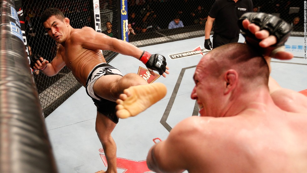 Francimar Barroso kicks Hans Stringer during their light heavyweight bout Sunday, March 23, at UFC Fight Night 38 in Natal, Brazil.