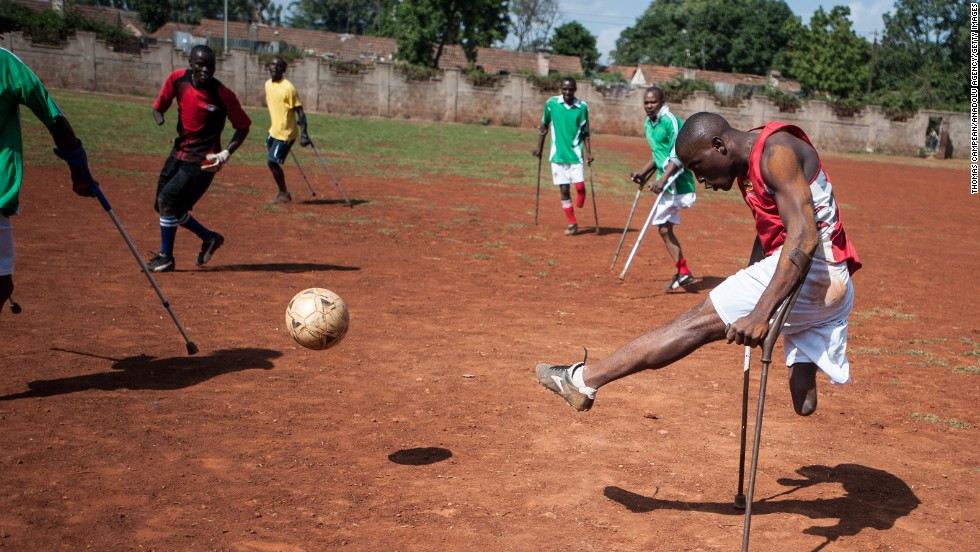 Players with Kenya's amputee soccer team train in Nairobi, Kenya, on Saturday, March 22.