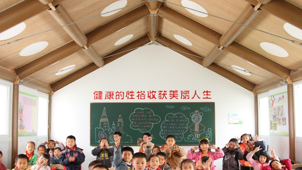 Paper-based structures have been versatile enough to deliver churches classrooms, as seen here in Chengdu, China.