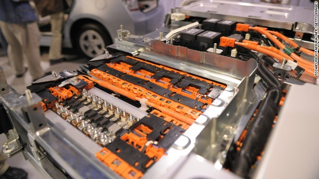 "The inside of a lithium-ion battery used in a Prius plug-in hyrbrid car is on display. ""Li-ion"" batteries are used extensively in cell phones and laptops."