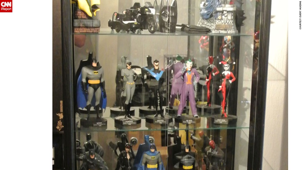Evert Huizing's home in Akkrum, Netherlands, is filled with Batman collectibles, such as these figures of heroes and villains.