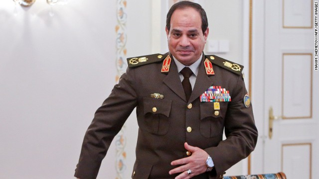 Egyptian army chief Abdel Fattah El-Sisi in Novo-Ogaryovo, outside Moscow, on February 13, 2014.