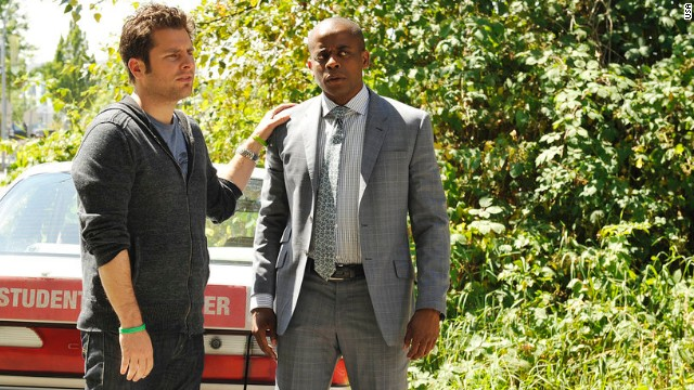 "James Roday and Dule Hill appear in the series finale of USA's ""Psych"" on March 26, 2014."