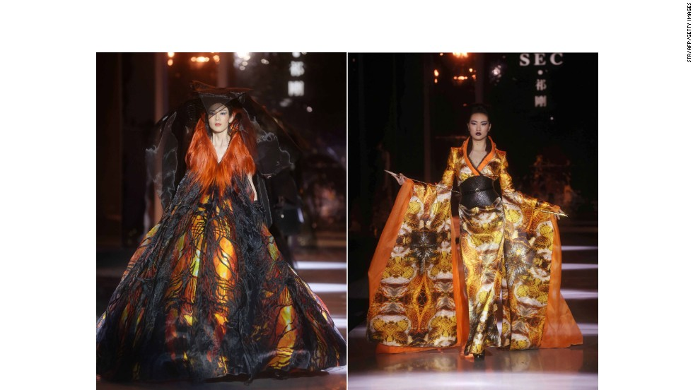 Qi Gang is known as one of China's most flamboyant designers and from these two golden looks it's obvious why. The Shanghainese designer is frequently awarded and fast becoming an A-list favorite, having dressed actresses Fan Bingbing and Gao Yuanyuan.