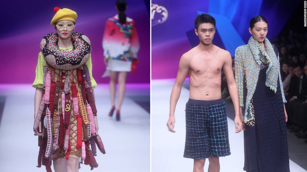 Designs entered in the WSM China Knitwear Fashion Design Contest 2014 were paraded down the catwalk yesterday in Beijing. More than 1,000 designs from across China were submitted for judging. Sheng Lina from Zhejiang Science and Technology University  won the top prize.