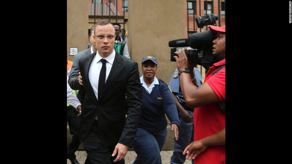 Pistorius leaves court on March 28. The trial was delayed until April 7 because one of the legal experts who will assist the judge in reaching a verdict was sick.