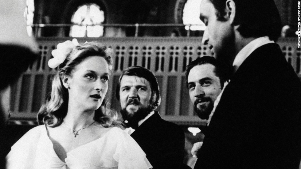 "Meryl Streep glances at actor John Cazale in ""The Deer Hunter."" Streep and Cazale were in a relationship at the time of his bone cancer diagnosis in 1976. He passed away in 1978."
