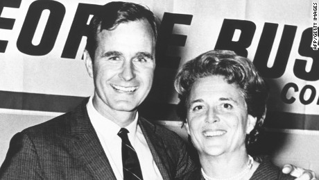 George Herbert Walker Bush poses with his wife Barbara during his campaign for Congress in the 1960's.  Born 12 June 1924 in Milton, Massachussetts, George Bush Yale graduated with a degree in Economics in 1948, made a fortune drilling oil before entering politics in 1964. US Congressman from Texas (1966-1970), ambassador to the United nations (1971-1974), Special Envoy to China (1974-1975), Republican National Chairman (1975-1976), Central Intelligence Agency (CIA) director (1976-1977), vice president of the US (1981-1959) George Bush is eventually elected president of the US 08 November 1988 against Democratic nominee Michael Dukakis.  AFP PHOTO/WHITE HOUSE        (Photo credit should read /AFP/Getty Images)