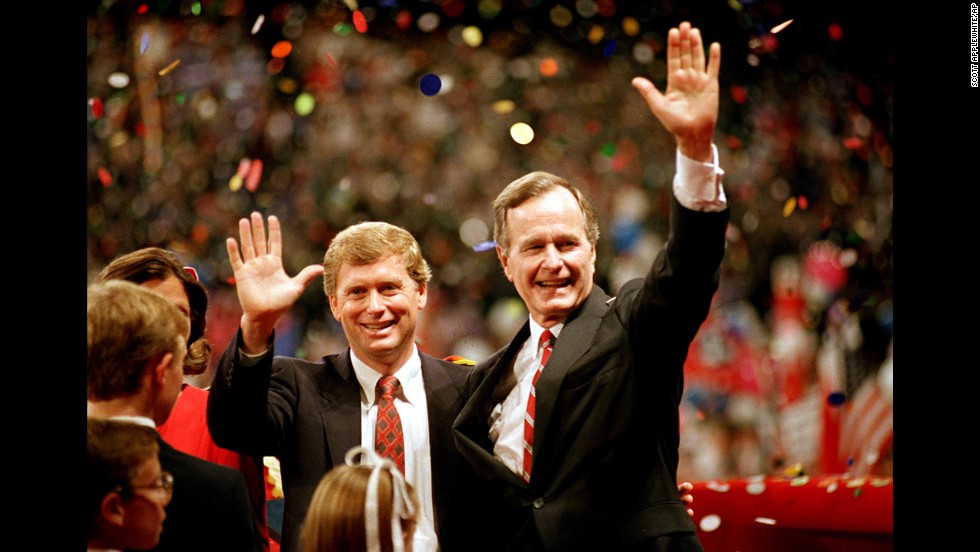 "Bush and Indiana Sen. Dan Quayle accept the Republican Party's nominations for president and vice president in August 1988. During his speech, Bush uttered the memorable line, ""Read my lips: No new taxes."""