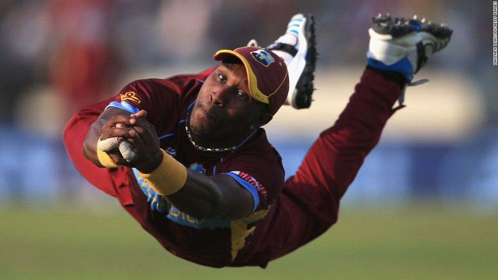 Dwayne Bravo of the West Indies cricket team catches the ball against Australia during a World Twenty20 match Friday, March 28, in Dhaka, Bangladesh.