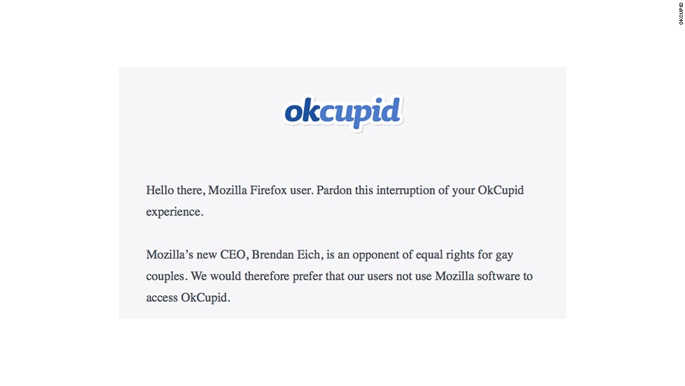 OkCupid protests Firefox over CEO's anti-same-sex marriage donation