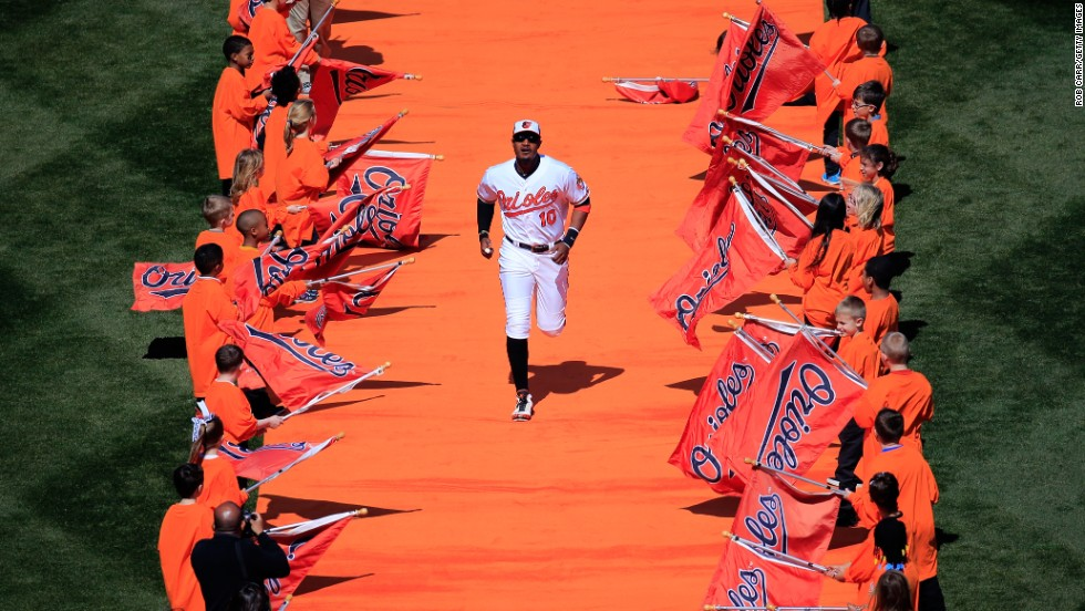 Adam Jones, center fielder for the Baltimore Orioles, is introduced to the home crowd before the start of the Orioles' Opening Day game against Boston on Monday, March 31.