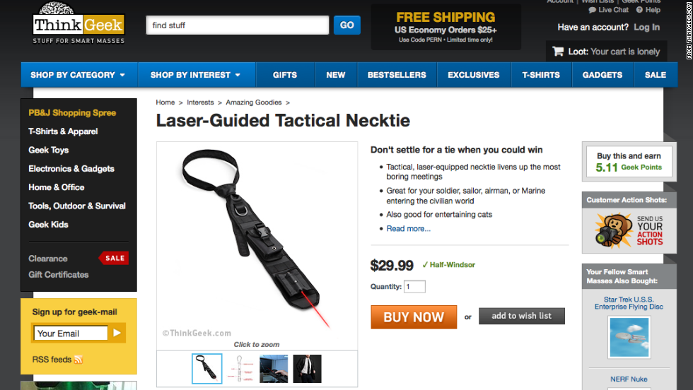 "Those clever folks at ThinkGeek  want to sell you a <a href=""http://www.thinkgeek.com/product/1917/"" target=""_blank"">Laser-Guided Tactical Necktie</a> for $29.99. They promise it ""livens up the most boring meetings."""