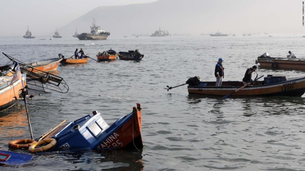Fishing boats lie in the waters of Iquique on April 2.