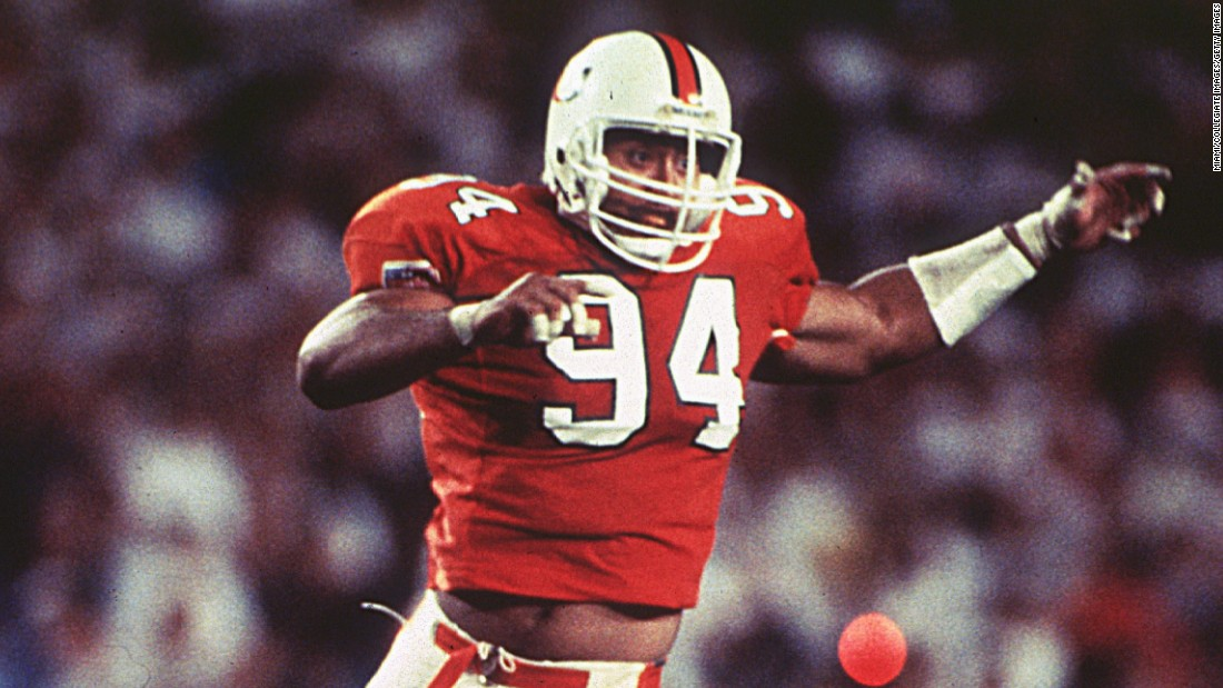 "Johnson played defensive tackle for the University of Miami Hurricanes in the early 1990s. ""He was a specimen,"" teammate and future Hall of Famer Warren Sapp said. ""He was the kind of guy you want your sister to date, because he was a nice guy."""