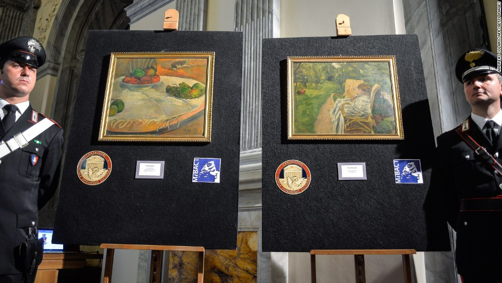 "Italy's Culture Ministry unveils two paintings by the French artists Paul Gauguin and Pierre Bonnard on April 2, 2014. The paintings, <a href=""http://www.cnn.com/2014/04/02/world/europe/italy-paintings-recovered/index.html"">worth millions of euros</a>, were stolen from a family house in London in 1970, abandoned on a train and then later sold at a lost-property auction, where a factory worker paid 45,000 Italian lire for them -- roughly equivalent to 22 euros ($30)."