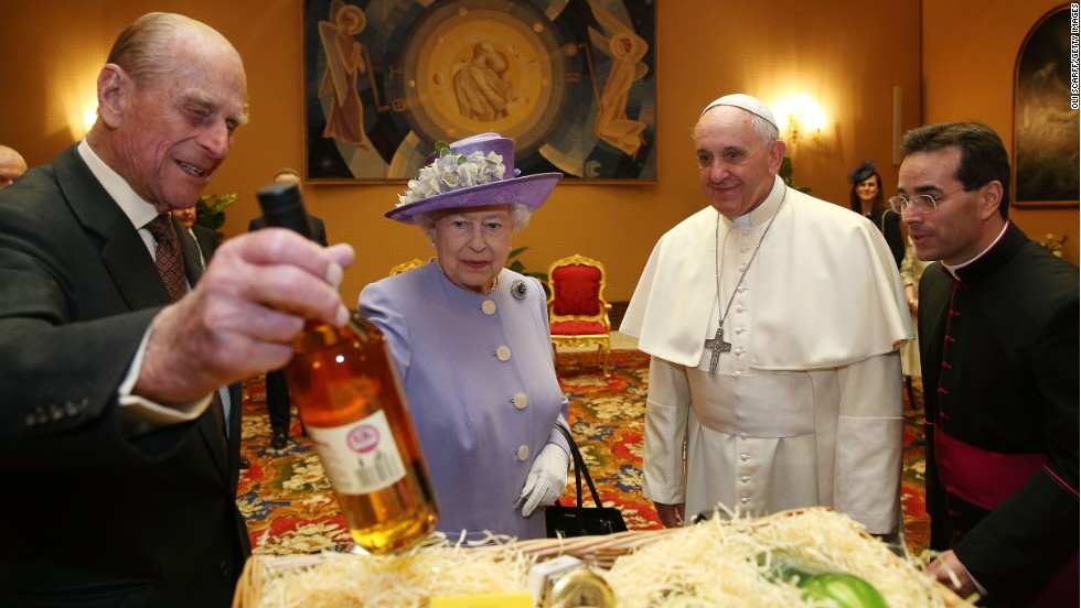"Britain's Queen Elizabeth II -- accompanied by Prince Philip, left -- <a href=""http://www.cnn.com/2014/04/03/world/gallery/queen-meets-pope-francis/index.html"">meets Pope Francis</a> for the first time on Thursday, April 3, at the Vatican."