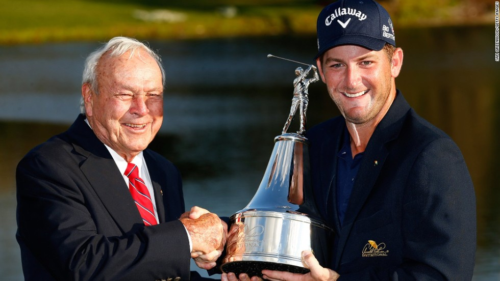 Palmer congratulates Matt Every after the American won last month's Arnold Palmer Invitational at Bay Hill, qualifying for the Masters.