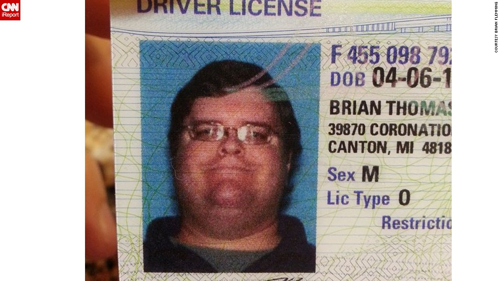 "Flemming still uses this driver's license from a few years ago. ""It's an interesting conversation piece when I show my ID for anything,"" he said."