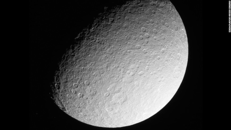 Saturn's moon Rhea is seen from approximately 174,181 miles away in this March 2013 image.