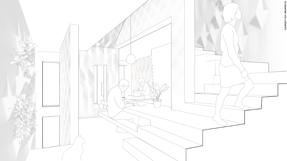 An artists impression of the interior of the DUS Architects 3D printed house.