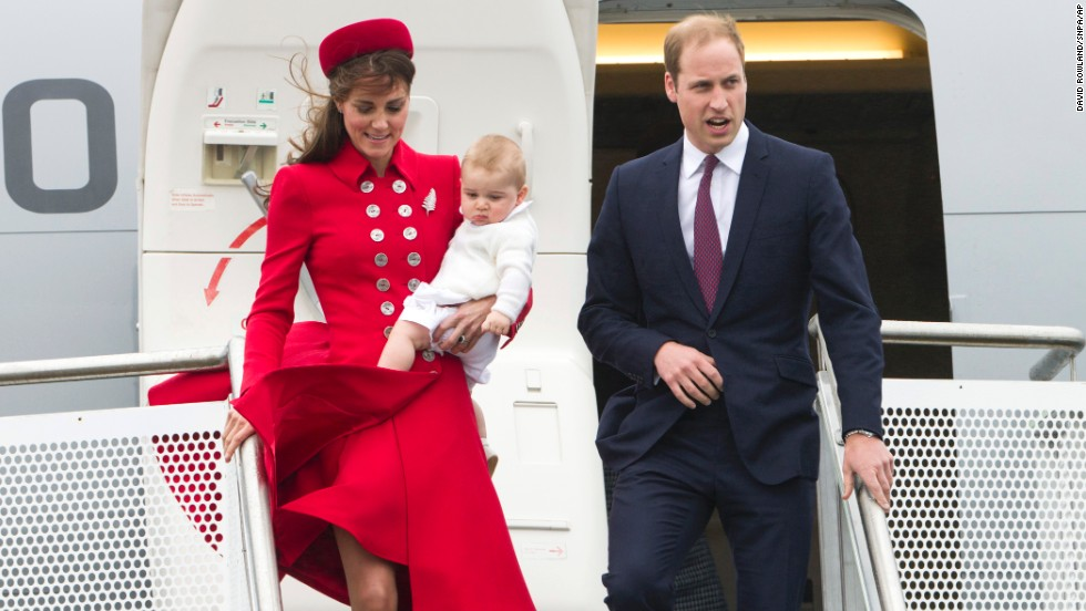 Britain's Prince William and Catherine, Duchess of Cambridge, with Prince George arrive at the International Airport in Wellington, New Zealand, on Monday, April 7. It was the couple's first visit to New Zealand. Take a look at other British royal children on trips:
