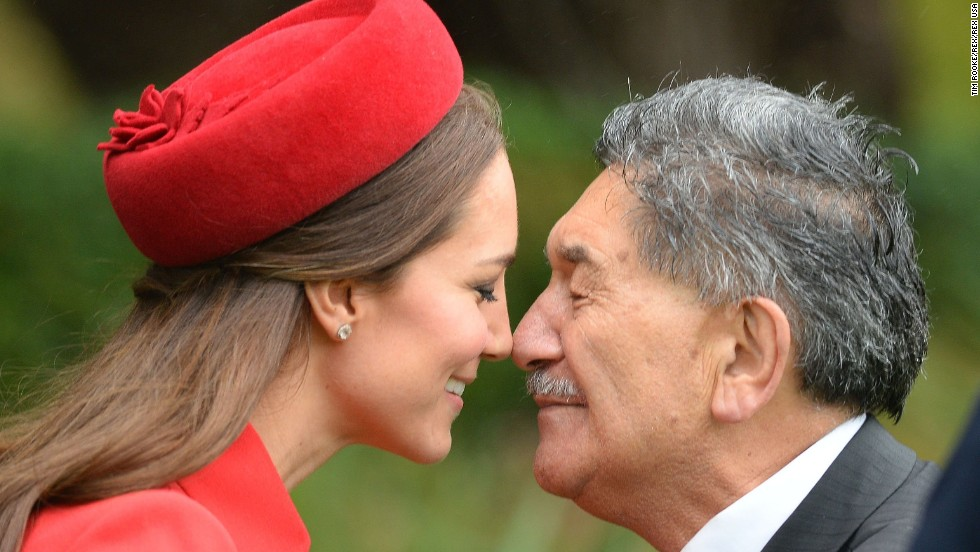 "Catherine receives a ""hongi,"" a traditional Maori greeting, by a Maori elder during a welcoming ceremony at Government House in Wellington."