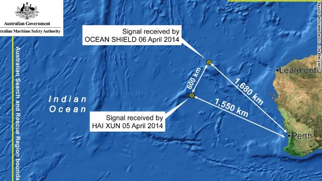 Map in search for Malaysia Airlines Flight 370.