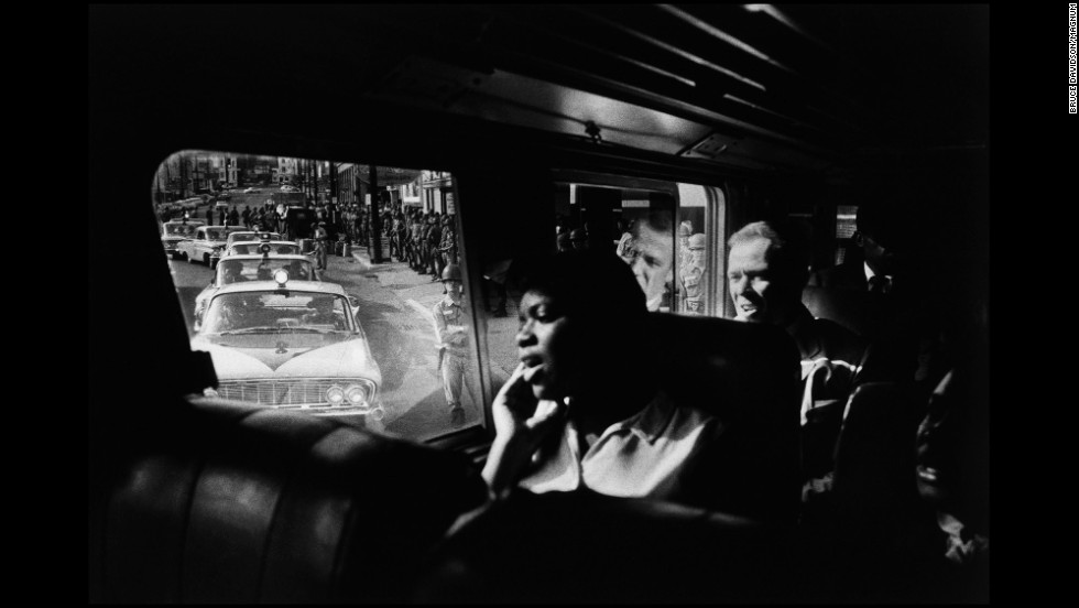 Freedom Riders sit on a bus during a trip from Montgomery to Jackson, Mississippi, in 1961. The Freedom Riders would brave mobs and endure savage beatings to desegregate interstate travel.
