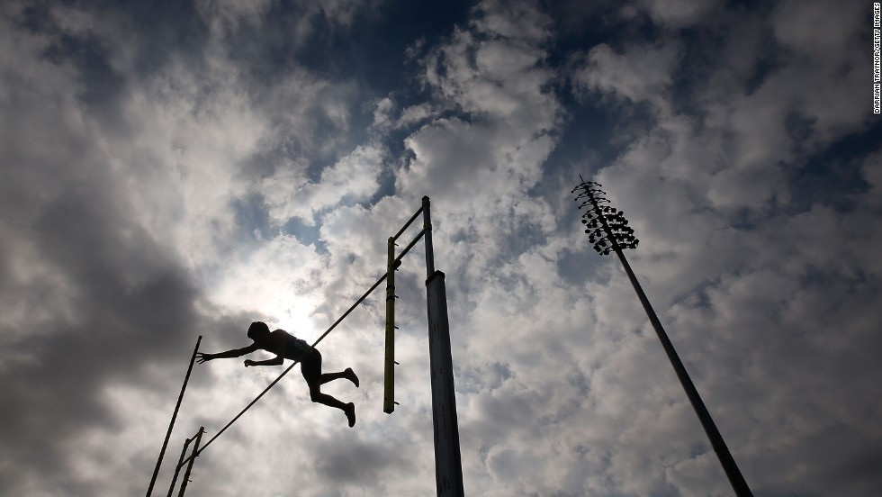 An athlete competes in the pole vault Friday, April 4, at the Australian Athletics Championships in Melbourne.