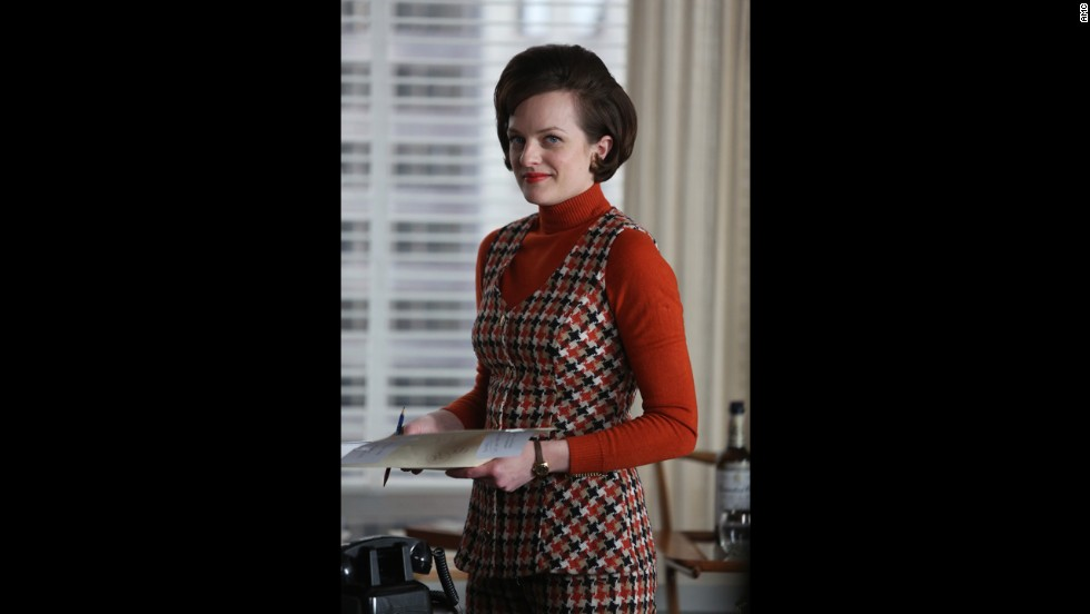 After Don Draper's personal crisis in the sixth season left Peggy to try to assume his role, she looks every bit the executive, Przybyszewsi said -- and every bit the fashion leader. Her knitwear ensemble was meant to show she has more important things to do than iron shirts.