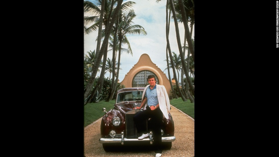 Real estate tycoon Donald Trump with his Rolls Royce at his Mar-a-Largo property in Palm Beach, Florida.