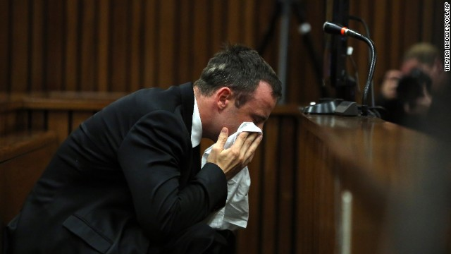 Oscar Pistorius weeps as he listens to evidence by a pathologist in court in Pretoria, South Africa, Monday, April 7, 2014.