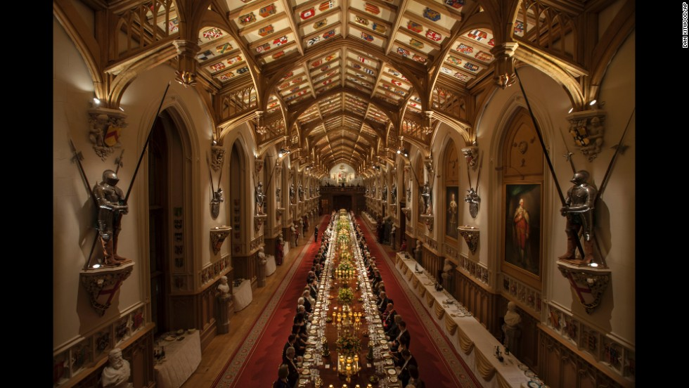 A state banquet was held at Windsor Castle in honor of Higgins' visit on Tuesday, April 8. Queen Elizabeth II gave a speech.