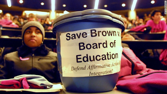 Both supporters and defenders of affirmative action cite the the high court's Brown v. Board of Education decision, which ended state-sponsored school segregation.