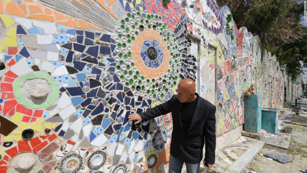 The multicolor artwork made by Syrian artist Moaffak Makhoul and his team is the world's largest mural made of recycled materials, according to Guinness World Records.