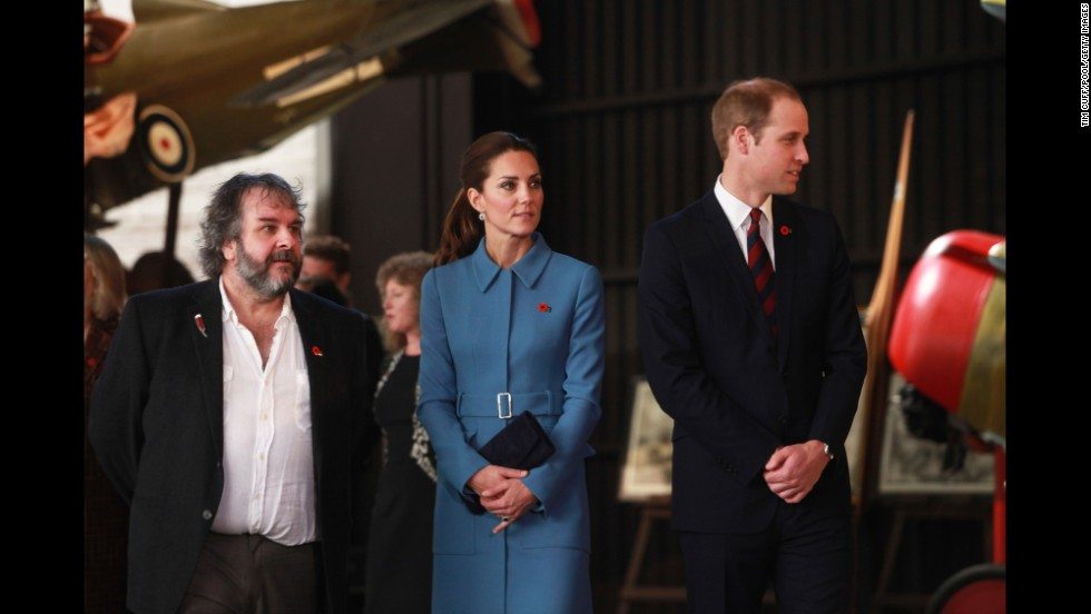 Film director Peter Jackson joins the royal couple as they tour the Omaka Aviation Heritage Centre in Blenheim on April 10.