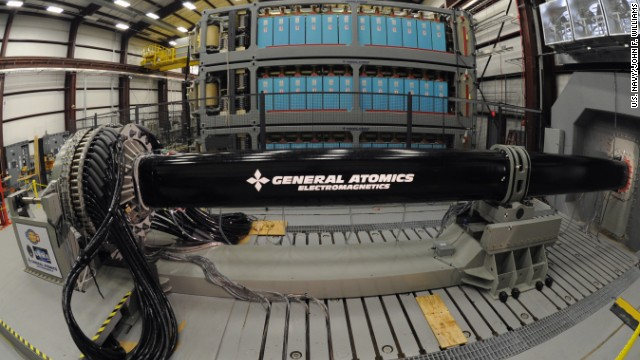 The EM Railgun launches projectiles using electricity instead of chemical propellants.